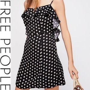 Free People Navy Floral Fit & Flare Mini Dress: Size Large, New With Tags.